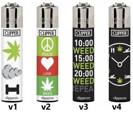 "Zapalovač Clipper s potiskem ""Love and Weed"""